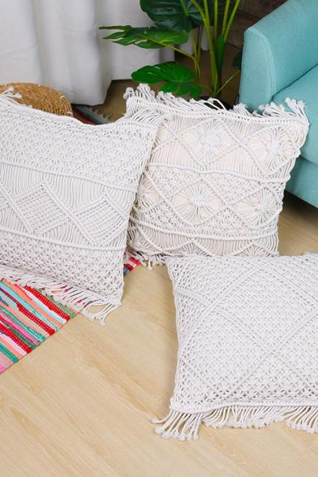 Bohemian hand-woven pillowcase Home Sofa Bed Living Room Chair 18 x 18 Inch Natural White