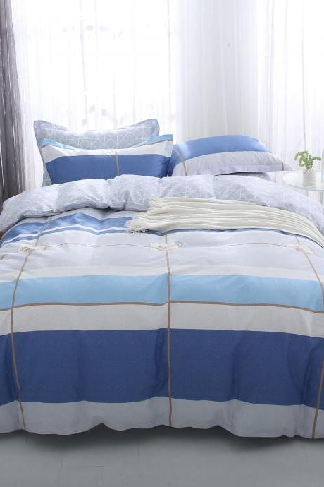 Bedding Set 3 Pieces, 100% Brushed Cotton Thick Duvet/Quilt/Comforter Cover with Flat Sheet