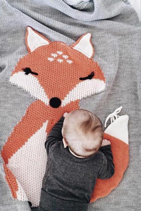 Fox Knitting Blanket Bedding Quilt Play Blanket Animal Newborn Baby Throw Blanket Crib Wrap Blanket for 0-6 Age Baby (Size: 73cmx 115cm Gray)