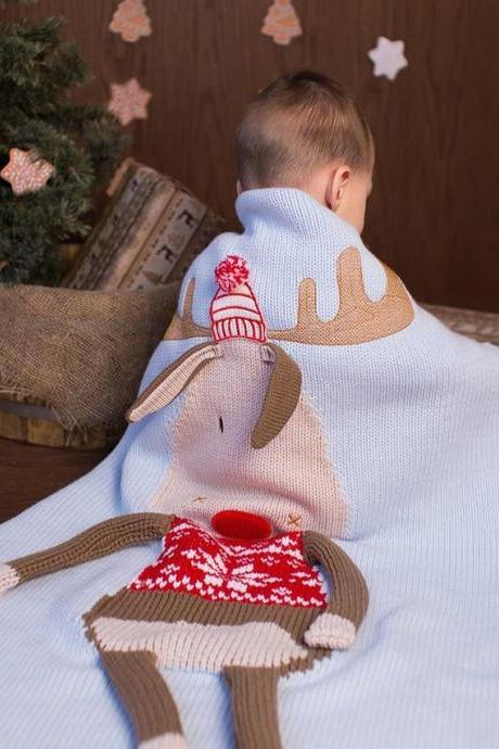 Children's Christmas Deer Wool Quilt Three-Dimensional Ear Knitted Blanket Baby Sleeping Playing Crawling Mat