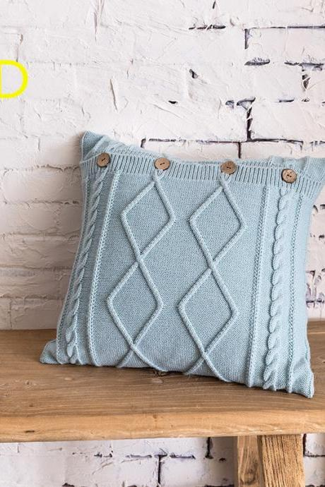 "Cotton Knitted Decorative Pillow Case Cushion Cover Cable Knitting Patterns Square Warm Throw Pillow Covers (18"" x 18"")"