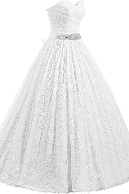 Women's Sweetheart Ball Gown Lace Bridal Wedding Dresses