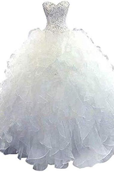 Women's Organza Sweetheart Neckline Cascading Ruched Wedding Dress