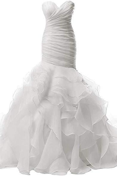 Wedding Dress Mermaid Strapless Bridal Dresses Ruffles Wedding Gown Sweetheart Bride Dress