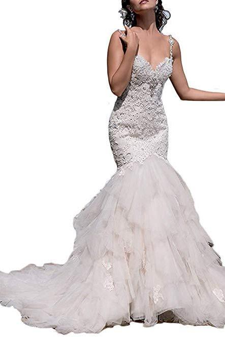 Women's Long Open-Back Lace Appliques Wedding Dress