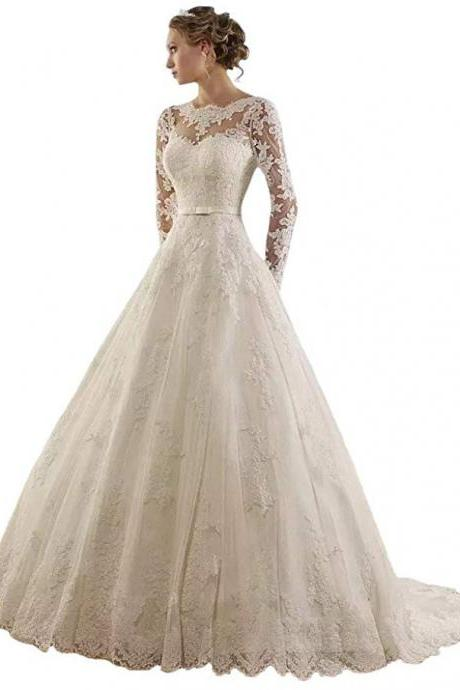Women's Jewel Lace Applique Long Sleeve Chapel Wedding Dress