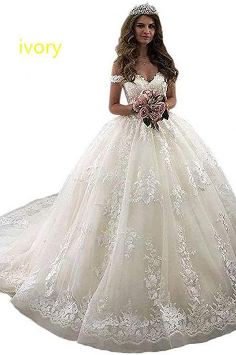 Gorgeous Off Shoulder Champagne Lace Court Train Bridal Gowns Wedding Dress for Bride