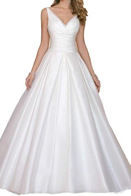 Double V Neck Wedding Dress Ruffles A Line Satin Bridal Gown
