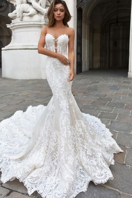 Fishtail wedding chest slim slimming waist bride wedding simple lace long tail