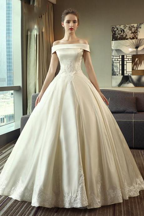 Satin Wedding Dress simple Wedding Dress one Shoulder, Satin Wedding Dress Iace Wedding Dress Shoulder Wedding Dress
