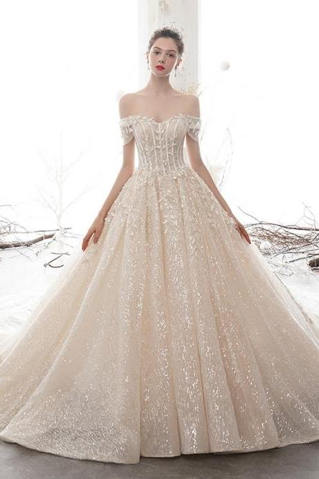 Sparkling word shoulder wedding bridal gown