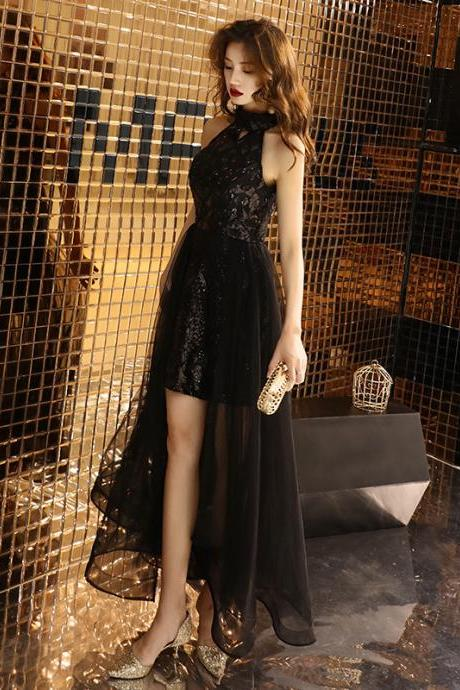 Black evening dress long party dinner dress