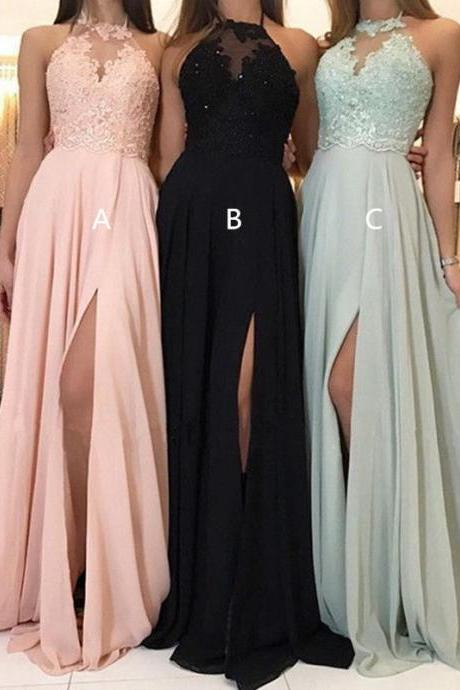 Sexy Floral Mesh Lace See Through Backless High Split Evening Party Maxi Dress