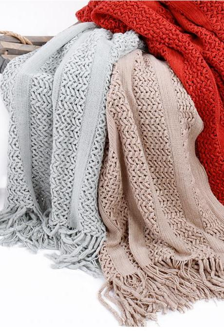 Fringe blanket knitting line blanket sofa blanket shawl blanket photo carpet solid color