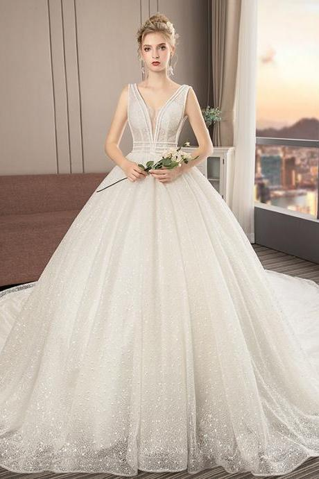 Wedding dress female host V-neck princess cathedral wedding Hepburn long trailing simple bride