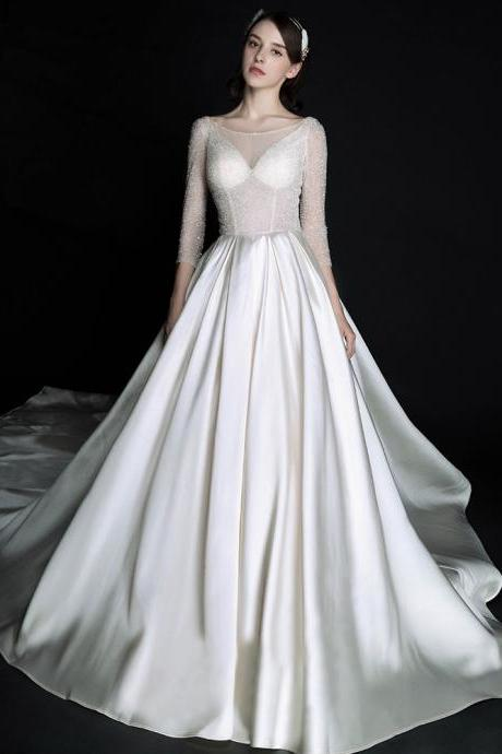 Women's Satin Wedding Bridal Cathedral Wedding Dress Sparkling Wedding Dress