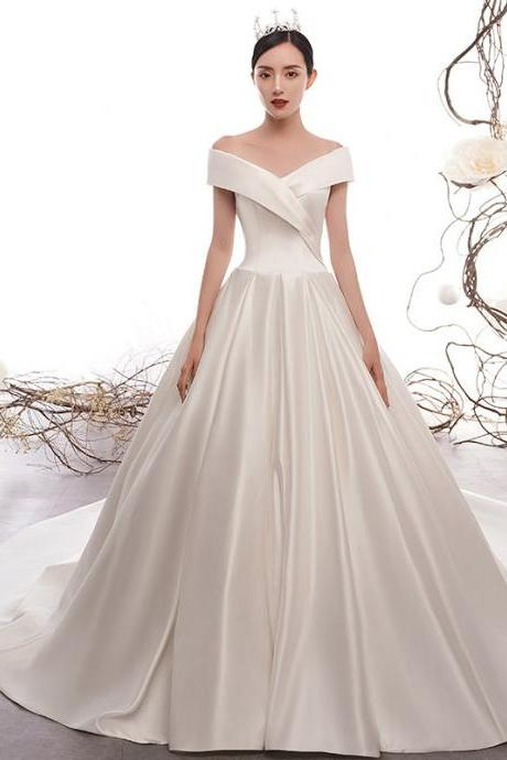 Women's wedding dress vintage satin tailed female simple word shoulder satin wedding dress