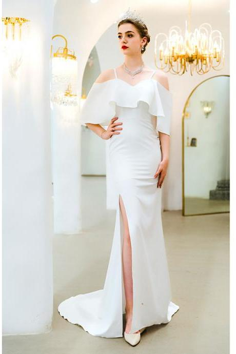 White wedding dress one-shoulder bride fishtail trailing wedding dress