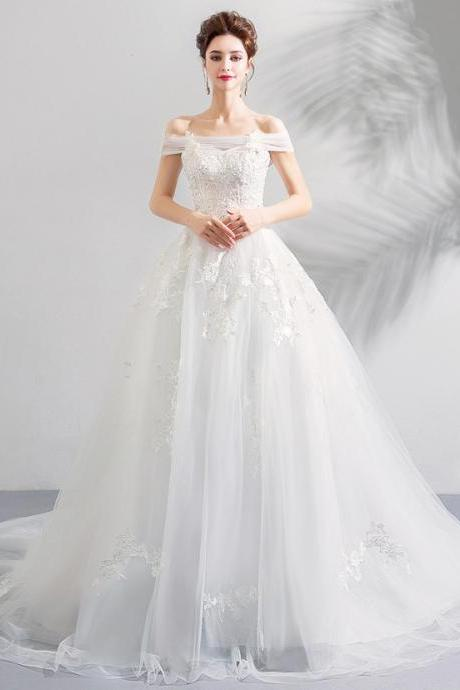 White lace one shoulder princess bride cathedral wedding dress