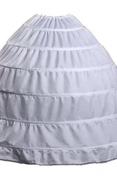 Full A-line 6 Hoop Floor-Length Bridal Dress Gown Slip Petticoat