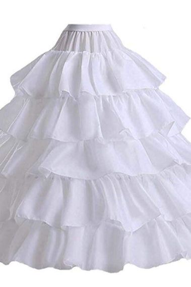 Women's 4-Hoop 5 Layer Wedding Petticoat Skirt Quinceanera Gown