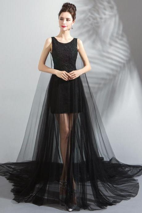 Women's Party Dress Black Birthday Party Banquet Evening Dress Mesh Wedding Dress
