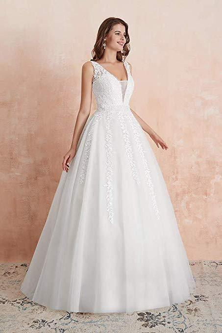 Women's Wedding Dress for Bride Lace Applique Evening Dress V Neck Straps Ball Gowns