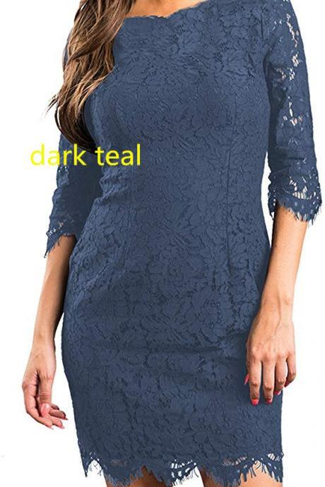 Women's Lace Floral Elegant Cocktail Dress Crew Neck Knee Length for Party