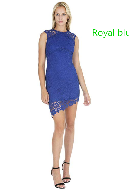 Womens Asymmetrical Lace Dress w/Diagonal Hem