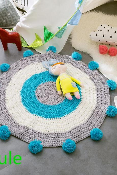 Pom Pom Play mat Handmade Rugs for Baby in Fun Designs Crochet Blanket Kids' Room Decorate Carpets - Grey, 31.5x31.5inch