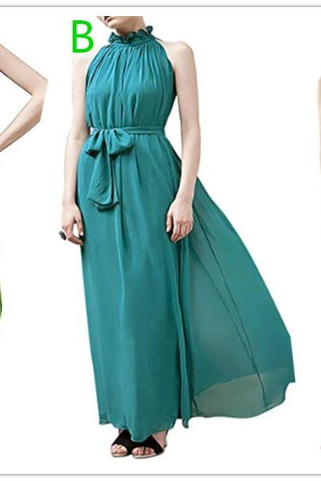 Women Halter Neck Sleeveless Chiffon Maxi Dresses