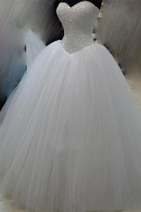 Bride wedding dress tube top Qi simple and thin slim V-neck diamond dress skirt wedding dress