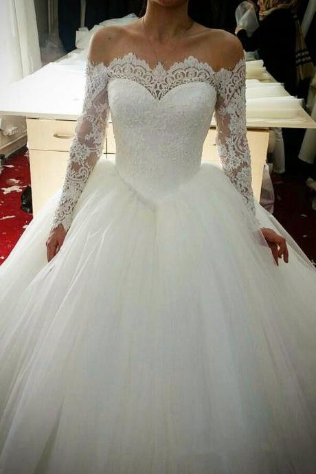 Bride wedding dress one shoulder long sleeve lace small trailing slim slim large size wedding dress