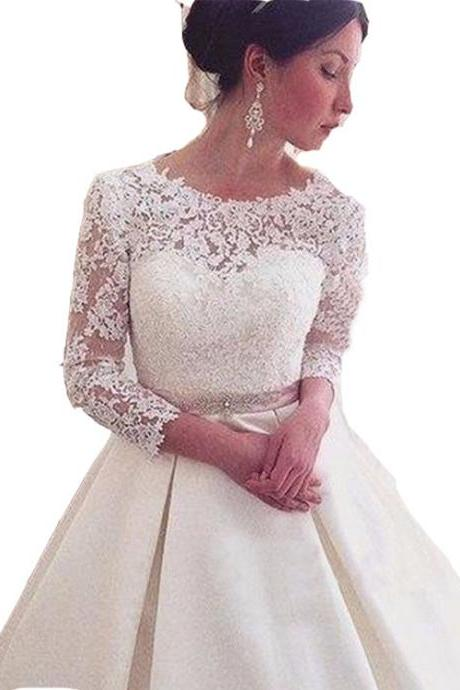 Bride sexy long-sleeved halter lace wedding dress slim section tail bride wedding dress