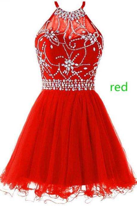 Women's Halter Short Homecoming Dress Beading Tulle Prom Dress