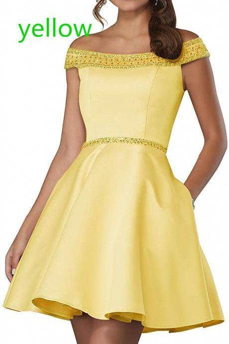 Homecoming Dress Satin A-Line Cocktail Short Prom Gown With Pockets