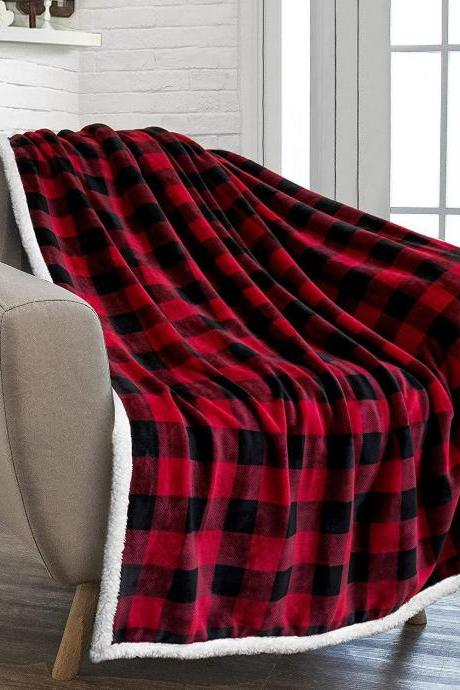 Buffalo Check Sherpa Fleece Throw Blanket | Red Black Checkered Flannel Blanket | Christmas Plaid Warm Plush Microfiber Blanket for Couch Sofa | 50x60 Inches