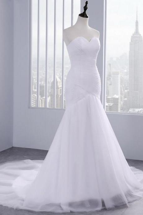 Women's satin white wedding dress