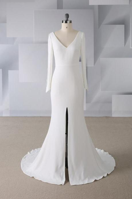 2019 new simple elegant v-neck without back was thin sexy front fork angled buckle mermaid wedding dress