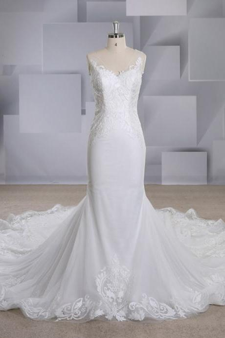 2019 new mermaid wedding sexy V-neck sleeveless lace applique slim wild wedding dress