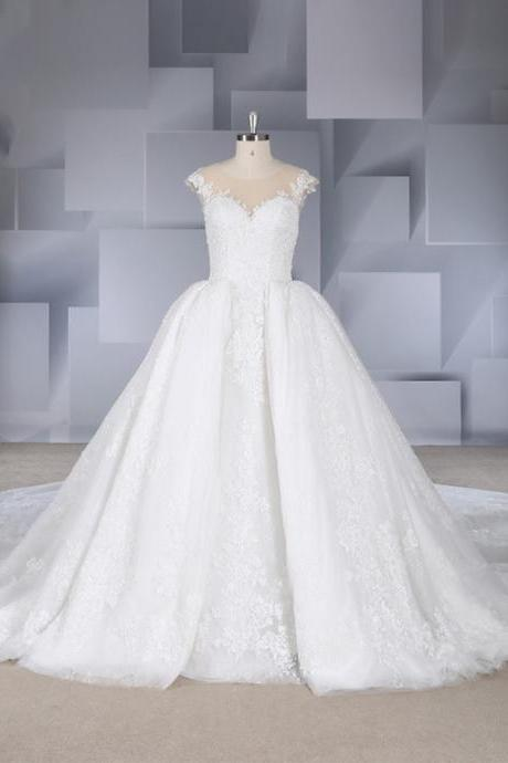 New court-style beaded slim versatile cover sleeve big tail wedding dress
