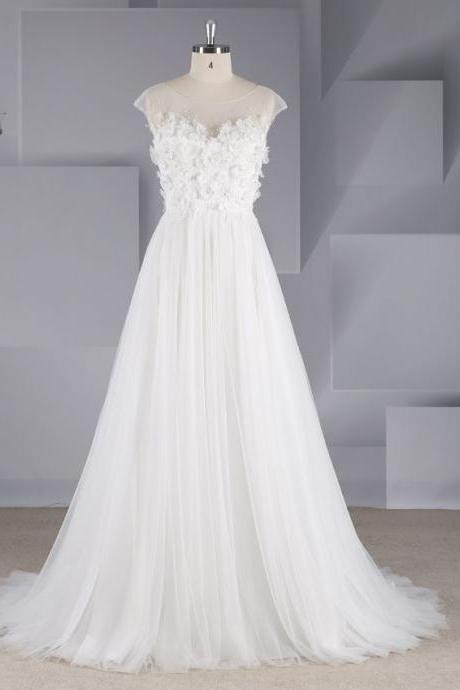 Women's Simple Lace Halter Slim Tulle Wedding Dress