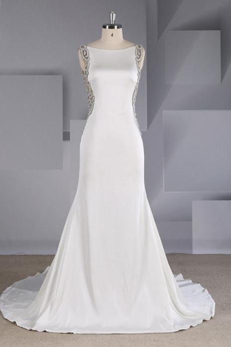 Wedding Satin Slim Sexy Halter Heavy-duty Beaded Fishtail Trailing Wedding Dress