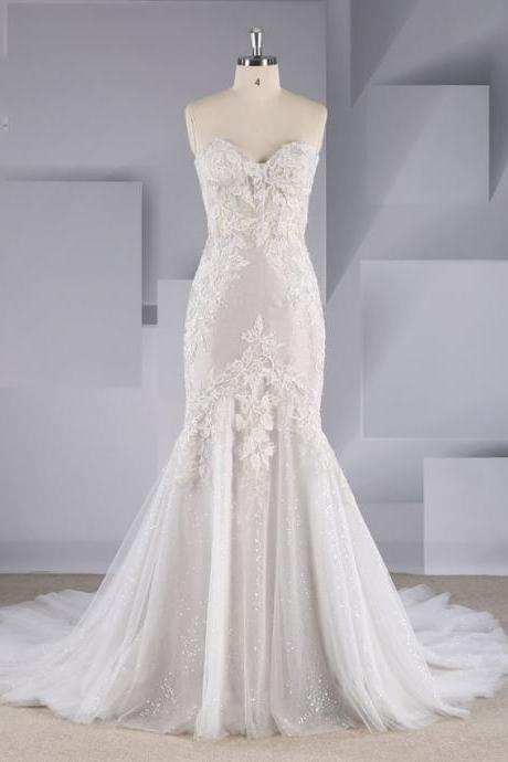 2019 new bohemian tube top hollow bag arm small A light gray three-dimensional embroidery lace wedding dress