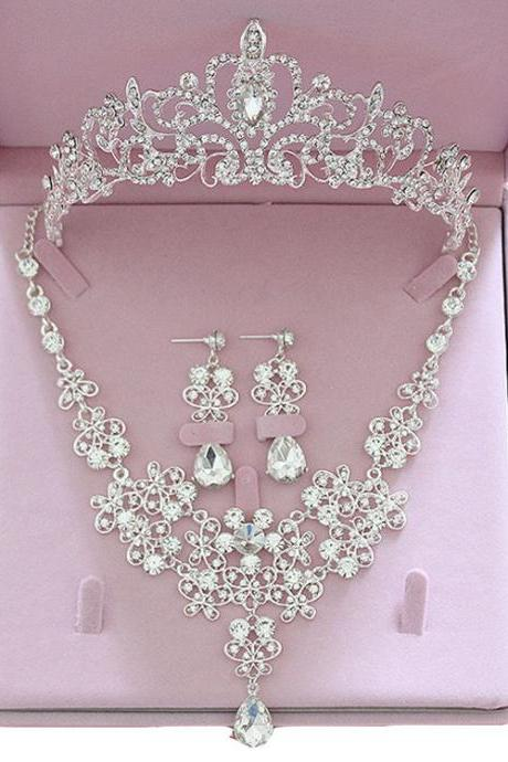 Bride Hair Accessories Tiaras Earrings Necklace Wedding Sets