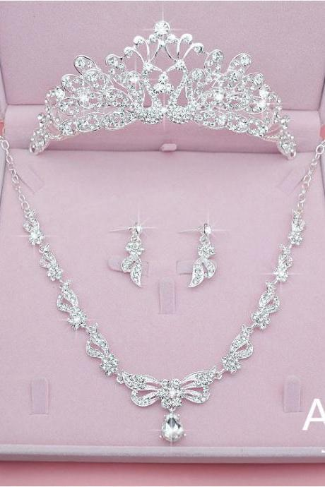 Sets for Women Bling Bride Hair Accessories Tiaras Earrings Necklace Wedding Jewelry Sets