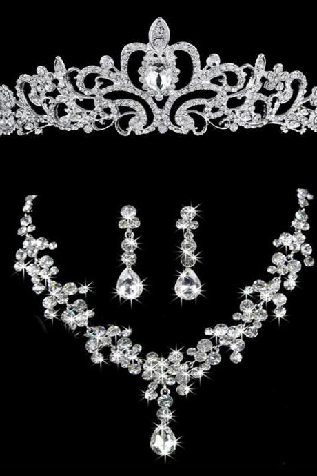Bridal Wedding Jewelry Set Necklace Earrings Rhinestone Tiaras Crown