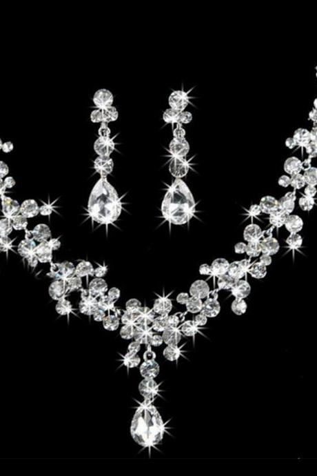 Wedding accessories simple bridal jewelry crystal crown tiara classic necklace wedding earrings three-piece women
