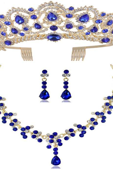 Bridal Crown Headdress Jewelry Set Wedding Accessories Dress Jewelry Necklace Earrings Three-Piece 98/5000