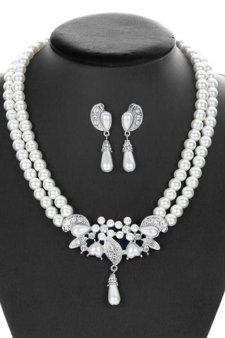 Women's Silver-Tone Simulated Pearl Crystal Victorian Style Flower Bridal Necklace Earrings